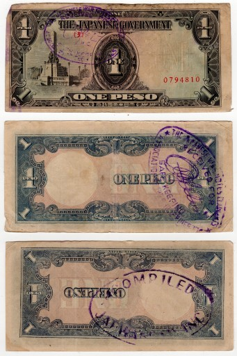 View of front of JAPWANCAP endorsed 1 Peso note and back of two notes showing two JAPWANCAP stamps.