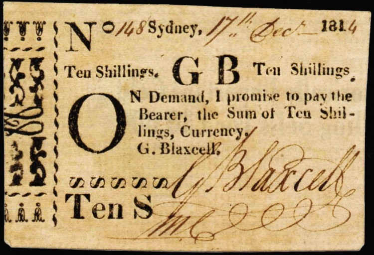 Garnham Blaxcell ten shillings, Sydney 1814.
