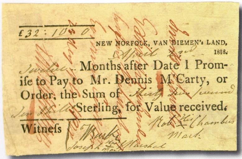 Bill of exchange for £32/10/-, Van Diemen's Land 2 April 1818.