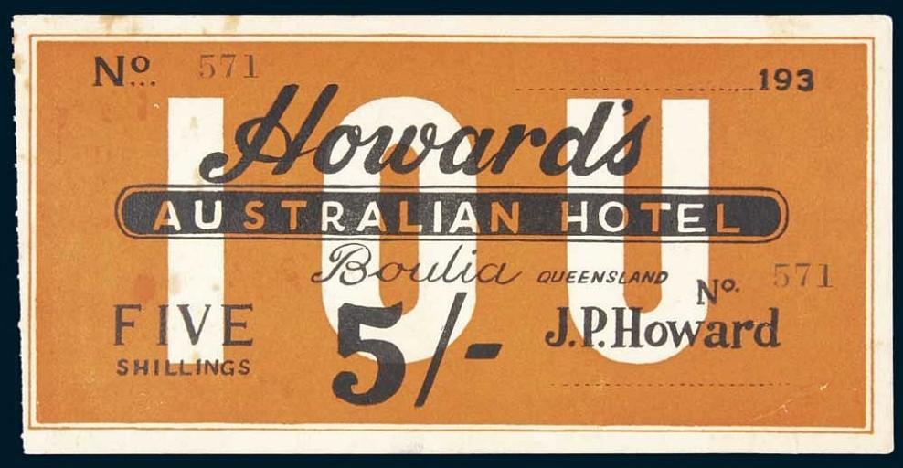 Shinplaster from the 1930s from Howard's Australian Hotel.