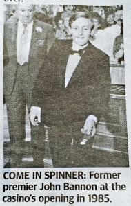 Photo of John Bannon tossing the pennies on the 12 December 1985. Photo taken from the Sunday Mail, 13 December 2015 p 11.