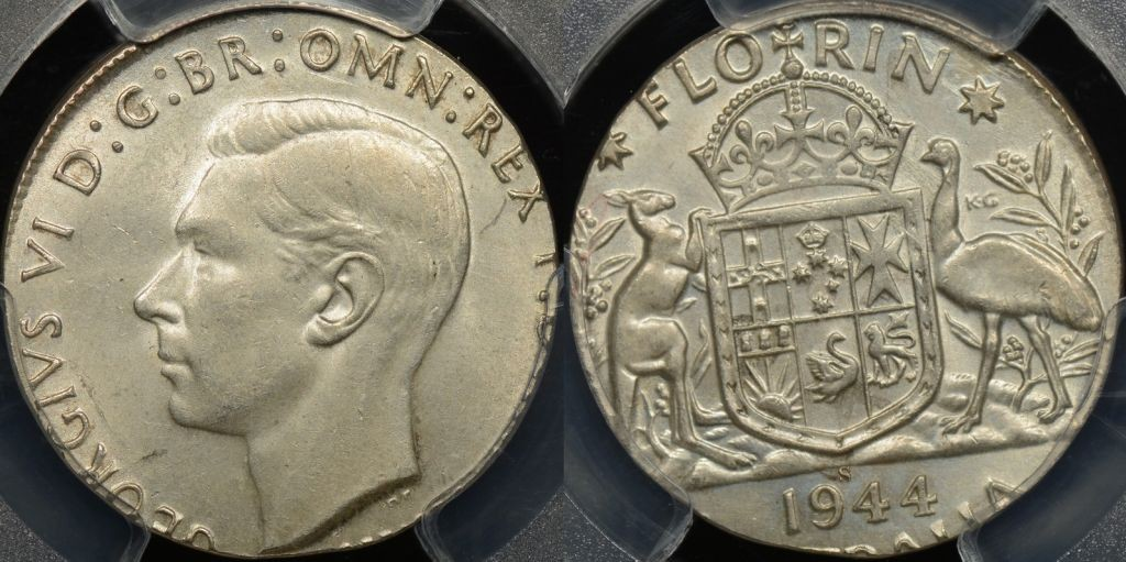 1944-S Florin struck on the Wrong Planchet