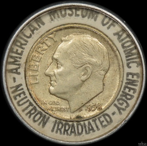 USA 1950 Dime in Souvenir Holder