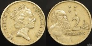 Australia 1988 $2 Coin Planchet Flaw Error